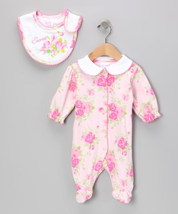 Pink 'Sweet' Flower Footie & Bib
