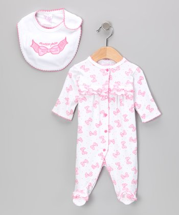 Light Pink 'Cutie Pie' Bow Footie & Bib