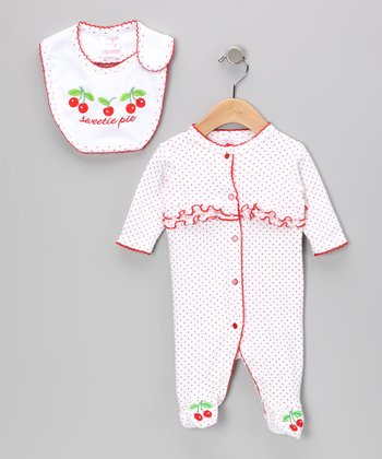 White & Red 'Sweetie Pie' Footie & Bib
