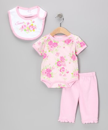 Pink 'Sweet' Flower Bodysuit Set