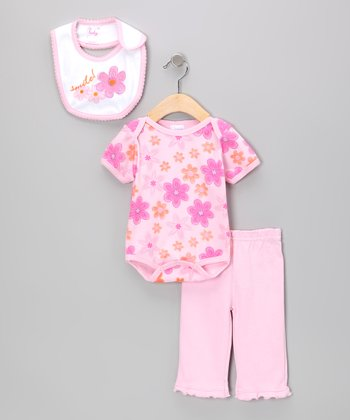 Pink 'Smile' Flower Bodysuit Set