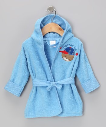 Blue 'Batter Up' Hooded Bathrobe