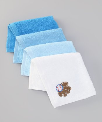 Blue Batter Up Washcloth Set