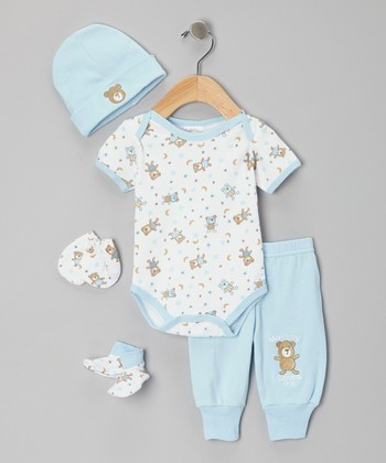 Mon Cheri Baby Blue 'Mommy Loves Me' Bodysuit Set