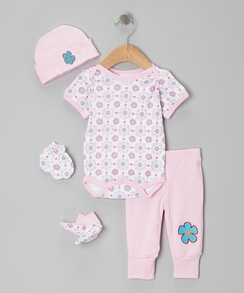 Mon Cheri Baby Pink Floral Five-Piece Layette Set