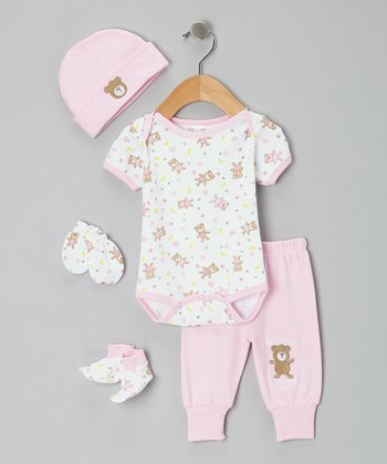 Mon Cheri Baby Pink 'Mommy Loves Me' Bodysuit Set