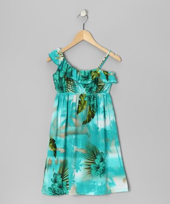 Aqua Tropical Ruffle Dress