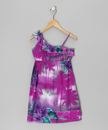 Purple Tropical Ruffle Dress