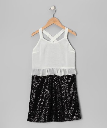 White & Black Sequin Dress