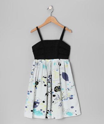 Blue Floral Zipper Dress - Girls
