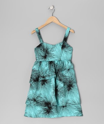 Blue Palm Tiered Ruffle Dress