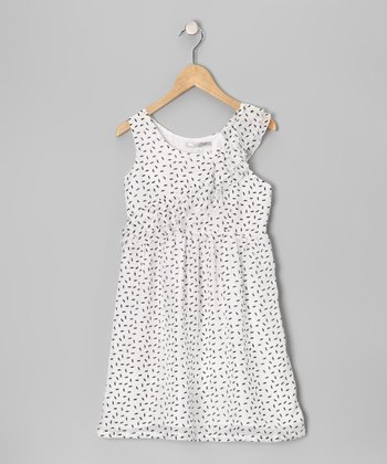 White Polka Dot Silk Dress - Girls
