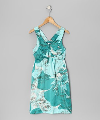 Aqua Poppy Dress - Girls