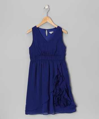 Blue Ruffle V-Neck Dress