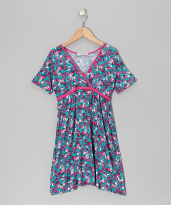 Pink Floral Surplice Dress - Girls