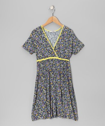 Yellow Floral Surplice Dress - Girls