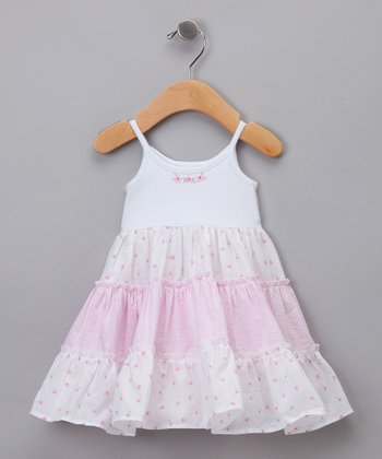 White & Pink Tiered Dress - Infant, Toddler & Girls