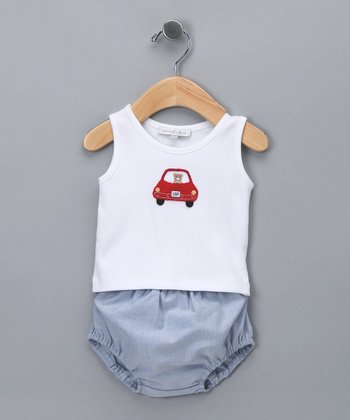 Blue Car Tank & Diaper Cover - Infant