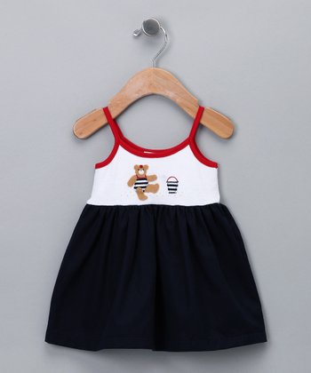 Navy Sailor Bear Dress - Infant & Toddler
