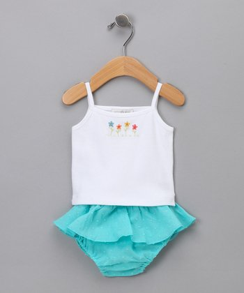 White Tank & Turquoise Diaper Cover - Infant