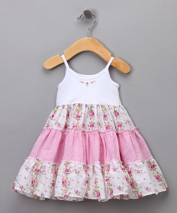 White & Pink Floral Tiered Dress - Infant & Toddler