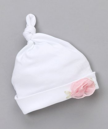 White Rosette Single-Knot Beanie - Infant