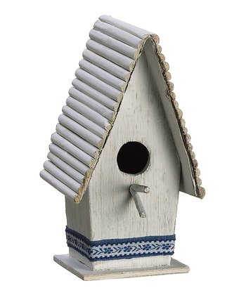 White & Blue Small Birdhouse