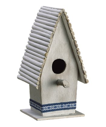 White & Blue Large Birdhouse