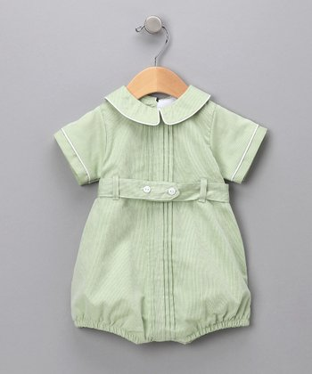 Green Belted Romper - Infant
