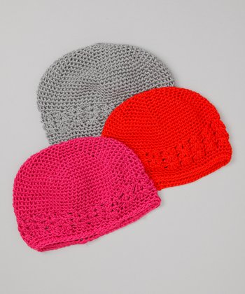 Gray, Hot Pink & Red Beanie Set