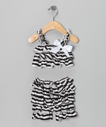 Black Ruffle Top & Shorts - Infant & Toddler