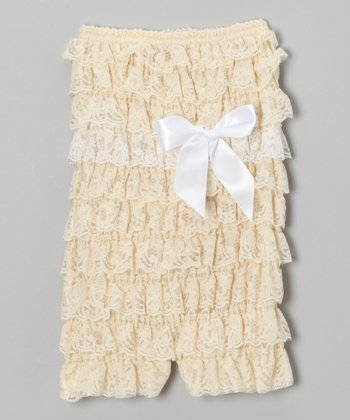 Ivory Lace Ruffle Romper - Infant & Toddler