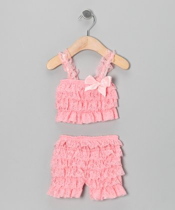 Light Pink Lace Ruffle Top & Shorts - Infant & Toddler