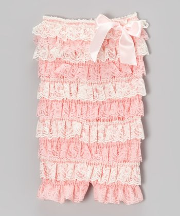 Pink & Ivory Lace Ruffle Romper - Infant & Toddler