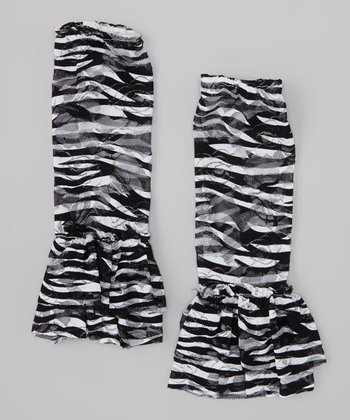 Black & White Zebra Lace Ruffle Leg Warmers