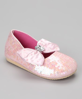 Pink Sequin Big Bow Flat