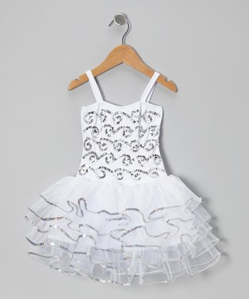 White & Silver Bree Dress - Infant, Toddler & Girls