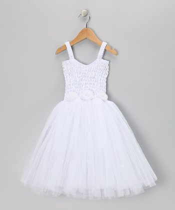 White Cindy Dress - Toddler & Girls