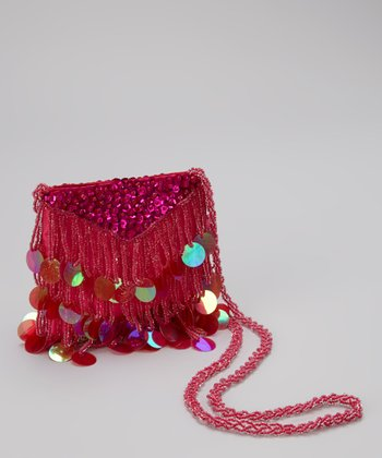 Fuchsia Bead & Sequin Crossbody Bag