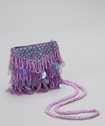 Light Purple Bead & Sequin Crossbody Bag