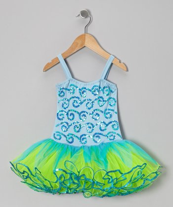 Blue & Green Skye Skirted Leotard - Infant, Toddler & Girls
