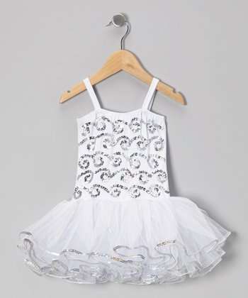 White & Silver Skye Skirted Leotard - Infant, Toddler & Girls