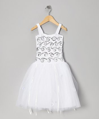 White & Silver Twinkle Dress - Toddler & Girls