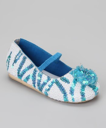 Blue & White Puff Flower Flat