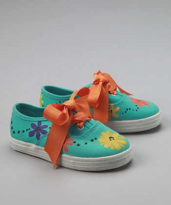 Blue & Orange Fiesta Flower Sneakers - Toddler & Girls