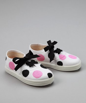 Pink & Black Dot Sneakers - Toddler & Girls