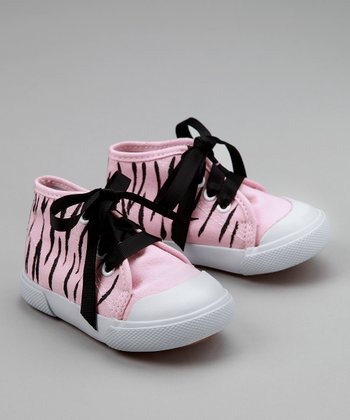 Pink & Black Zebra Hi-Top Sneakers - Infant & Toddler