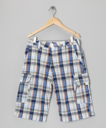 Blue & Red Plaid Prescott Cargo Shorts