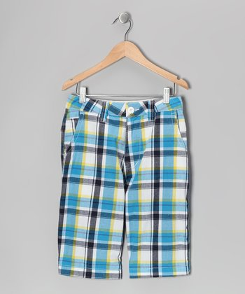 Blue Plaid Nevada Shorts