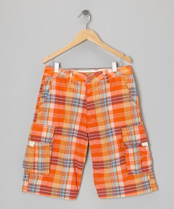 Orange & Blue Plaid Prescott Cargo Shorts